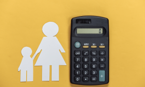 Cover for spousal support family law. Silhouette of mother and child next to calculator, illustrating spousal support payments.